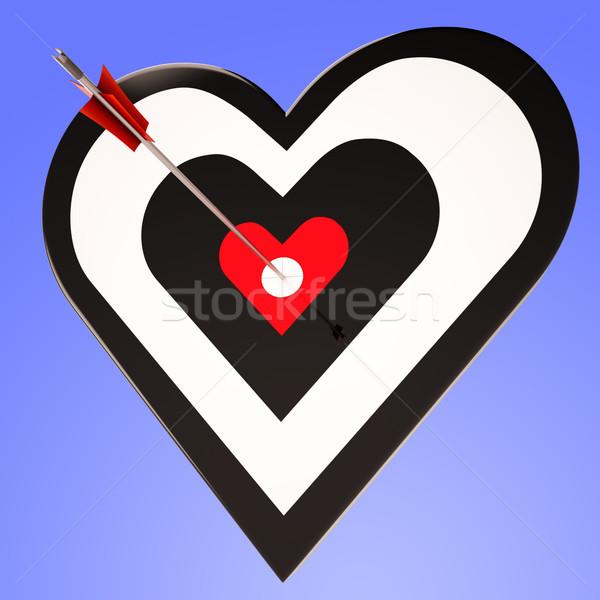 Heart Target Shows Winning Perfect Sweetheart Stock photo © stuartmiles