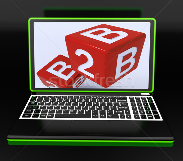 B2B Dices On Laptop Showing Online Commerce Stock photo © stuartmiles