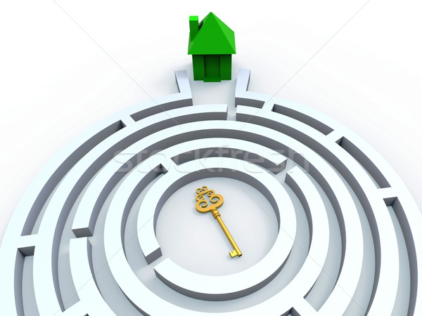 Key To House In Maze Shows Property Search Stock photo © stuartmiles