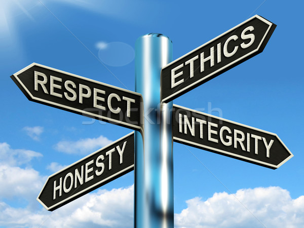 Respect Ethics Honest Integrity Signpost Means Good Qualities Stock photo © stuartmiles
