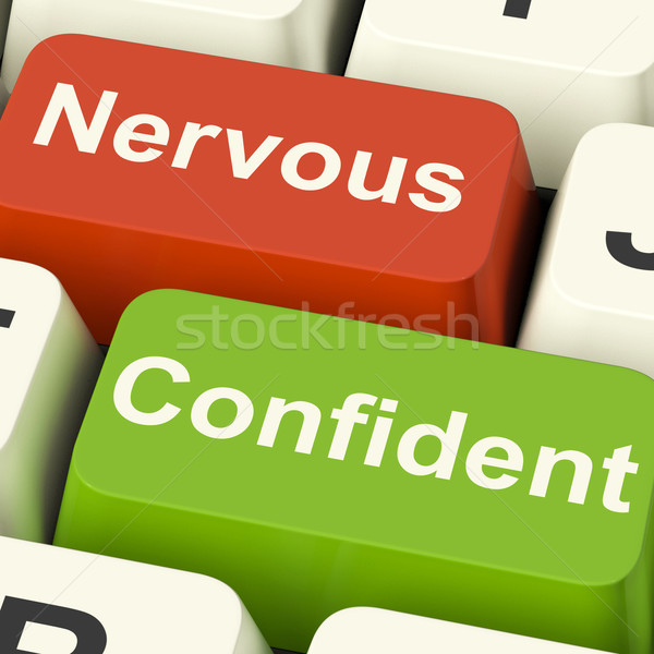 Nervous Confident Keys Shows Nerves Or Confidence Stock photo © stuartmiles