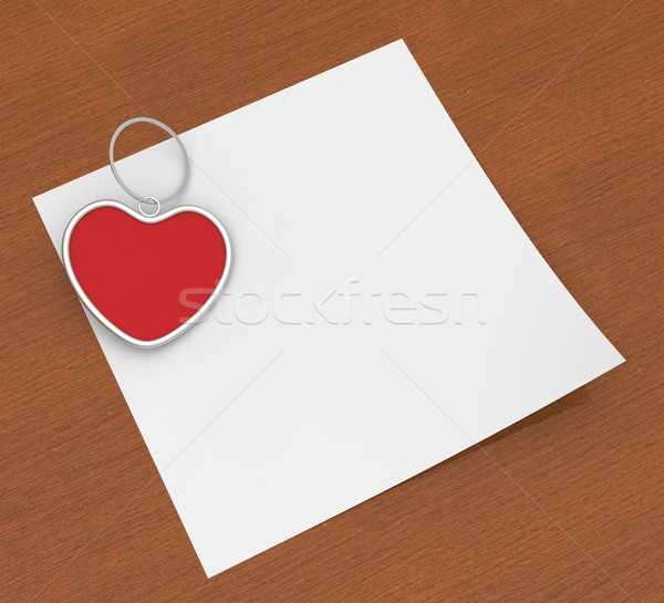 Heart Clip On Note Shows Affection Note Or Love Letter Stock photo © stuartmiles