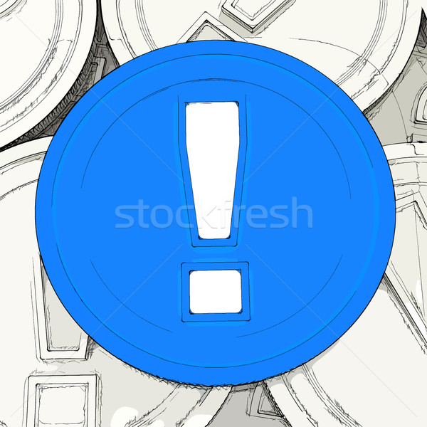Exclamation Mark Coin Means Surprise And Warning About Money Stock photo © stuartmiles