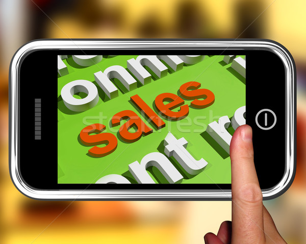 Sales In Word Cloud Phone Shows Promotions And Deals Stock photo © stuartmiles