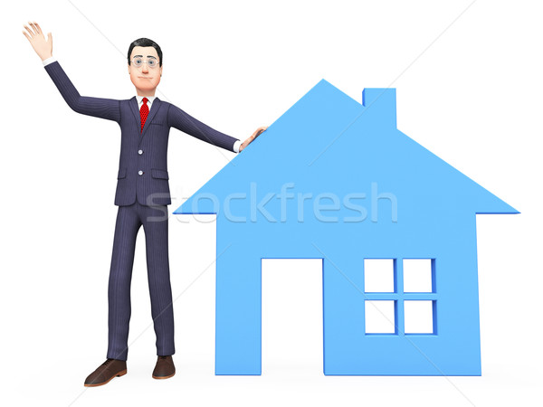 Real Estate Realtor Indicates Property Market And Builds Stock photo © stuartmiles