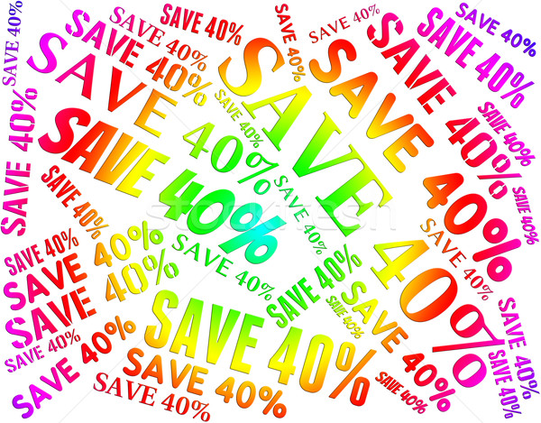 Forty Percent Off Represents Reduction Bargain And Words Stock photo © stuartmiles