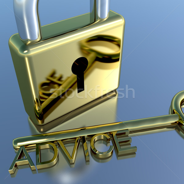 Stock photo: Padlock With Advice Key Showing Support Help And Information