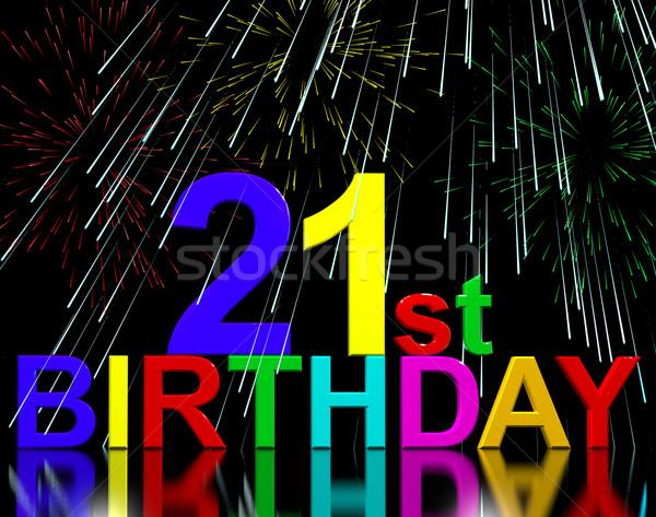 Twenty First Or 21st Birthday Celebrated With Fireworks Stock photo © stuartmiles