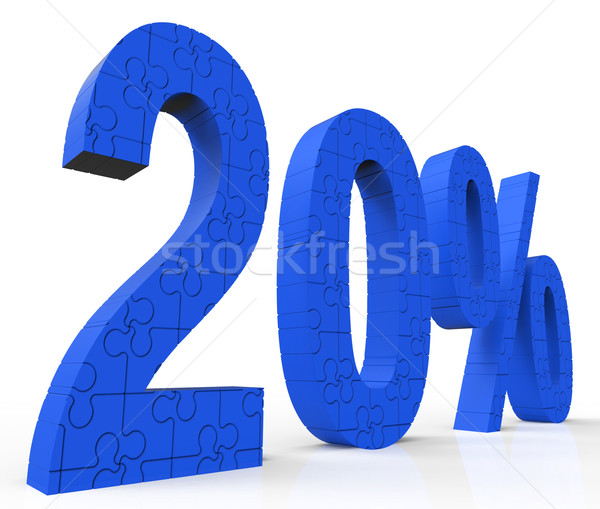 20 Puzzle Shows Twenty Percent Reduction And Clearance Stock photo © stuartmiles