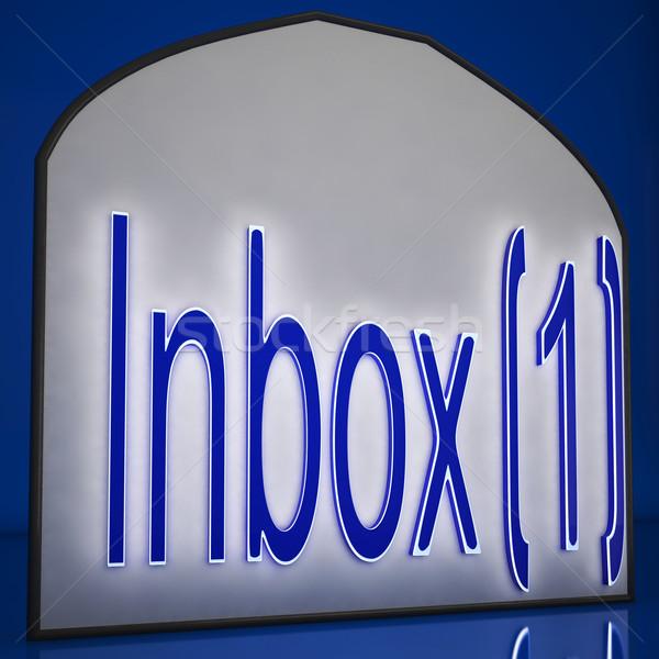 Bandeja de entrada uno signo nuevos mensajes Foto stock © stuartmiles