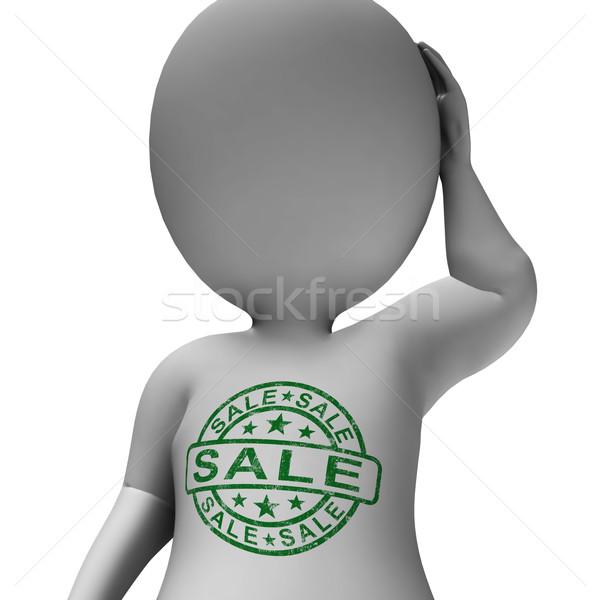 Verkoop stempel man promotie korting reductie Stockfoto © stuartmiles