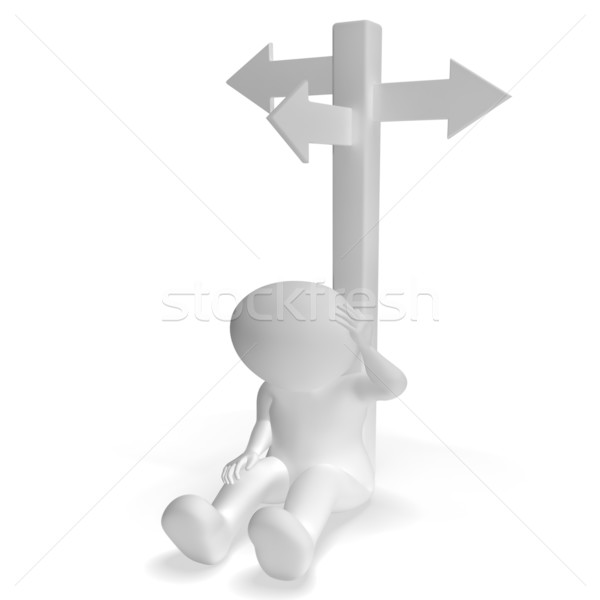 Signpost And 3d Man Showing Confusion And Decision Stock photo © stuartmiles