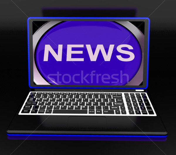 News On Laptop Showing Journalism Show Stock photo © stuartmiles