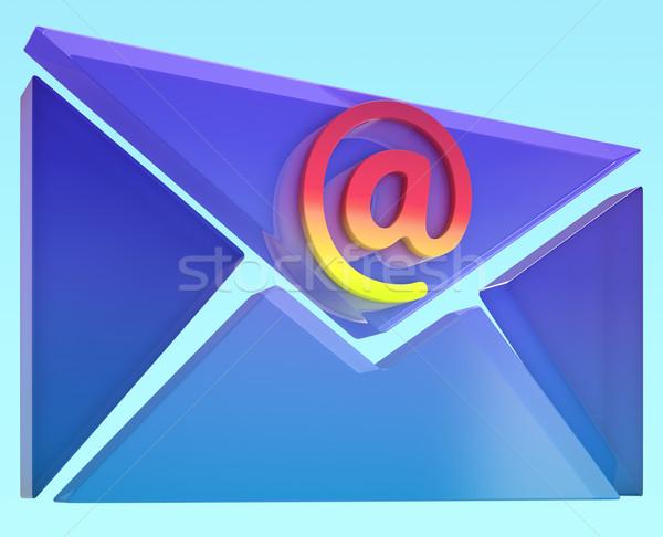 Envelope At Sign Shows Online Mailing Communication Stock photo © stuartmiles