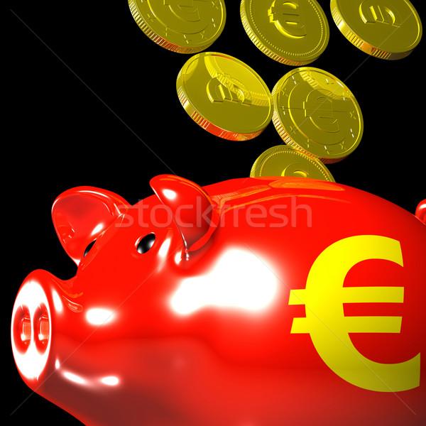 Coins Entering Piggybank Shows European Deposits Stock photo © stuartmiles