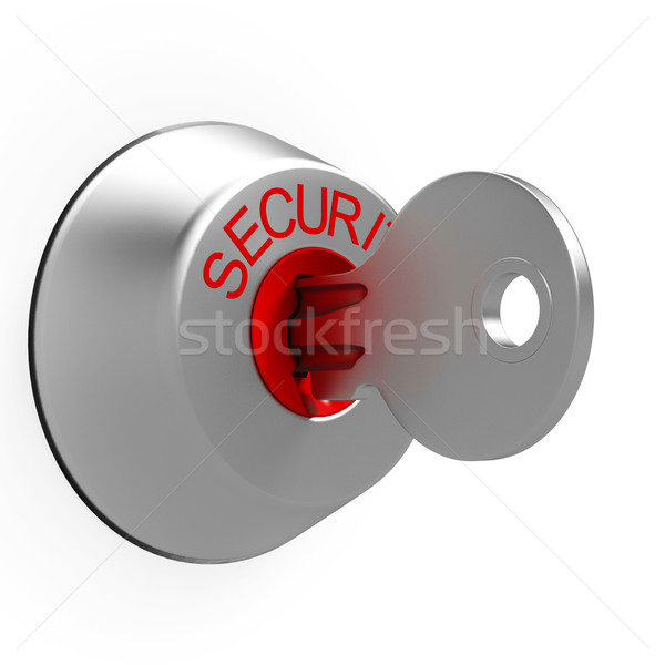 Key In Security Lock Shows Safeguard Stock photo © stuartmiles