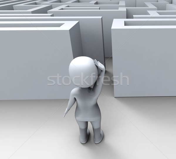 3D karakter doolhof uitdagen verward obstakels Stockfoto © stuartmiles