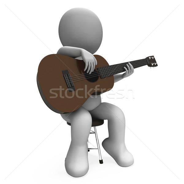 Guitare acoustique personnage guitariste musique performances Photo stock © stuartmiles