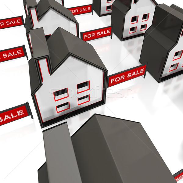 Venda assinar casas propriedade casa Foto stock © stuartmiles