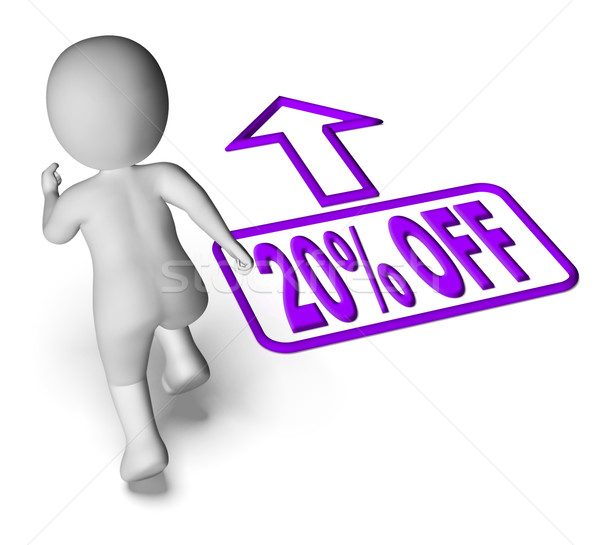 Ejecutando carácter venta descuento veinte por ciento Foto stock © stuartmiles
