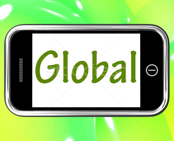Globalny smartphone światowy świecie Zdjęcia stock © stuartmiles