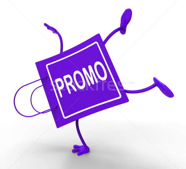 Stock photo: Handstand Promo Shopping Bag Shows Discount Reduction Or Save