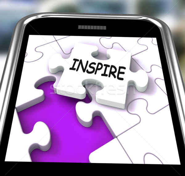 Inspire Smartphone Shows Originality Innovation And Creativity O Stock photo © stuartmiles