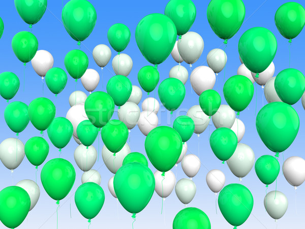 Floating Green And White Balloons Mean Freedom And Eco Friendly Stock photo © stuartmiles
