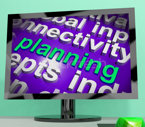 Planning Word Cloud Shows Objectives Plan And Organize Stock photo © stuartmiles