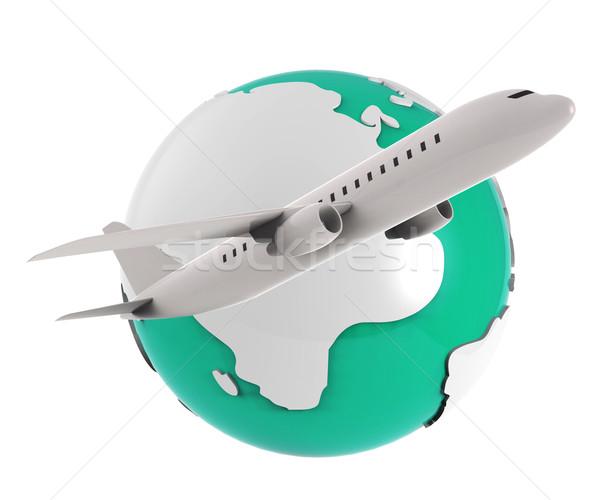 Wereldwijd vluchten aarde betekenis aarde wereldbol Stockfoto © stuartmiles