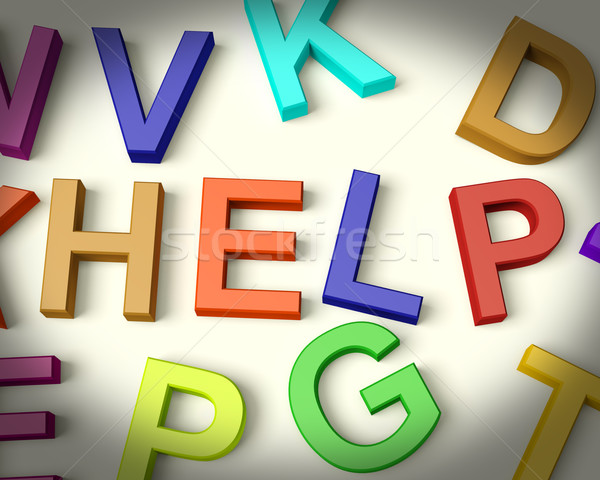 Stok fotoğraf: Yardım · yazılı · plastik · çocuklar · harfler