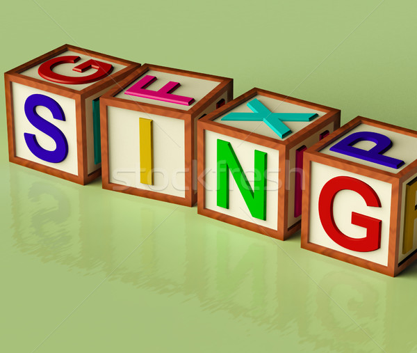 Kids Blocks Spelling Sing As Symbol for Singing And Music Stock photo © stuartmiles
