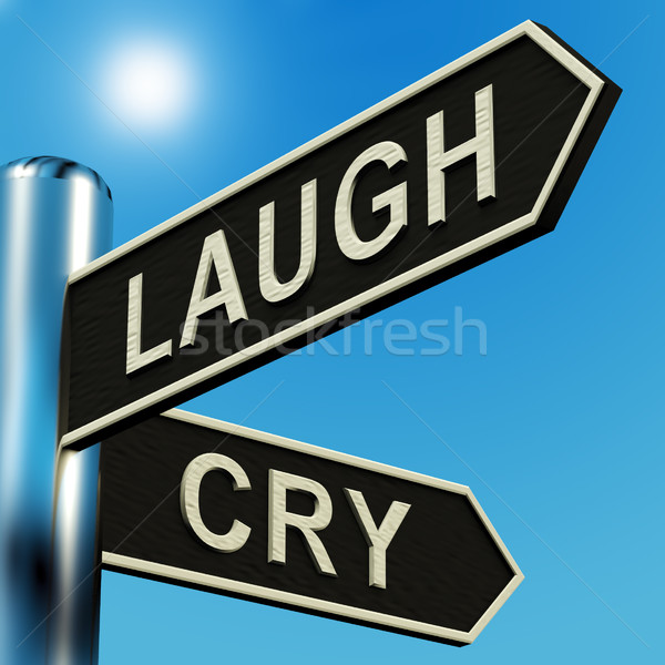 Laugh Or Cry Directions On A Signpost Stock photo © stuartmiles