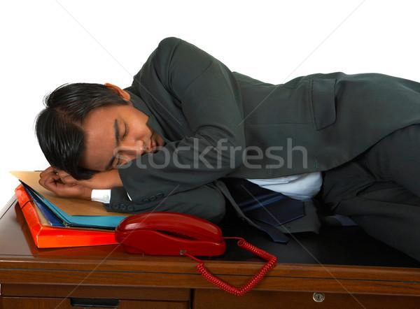 Fáradt üzletember asztal kimerült üzlet munka Stock fotó © stuartmiles