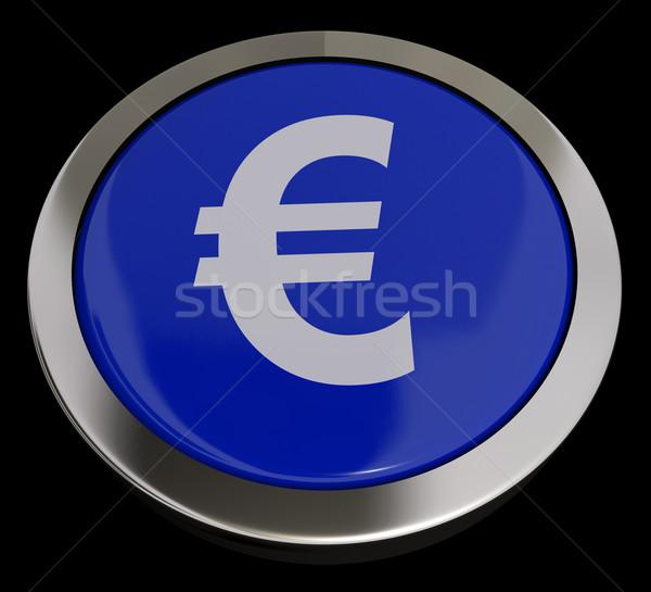 Stok fotoğraf: Euro · simge · düğme · mavi · para