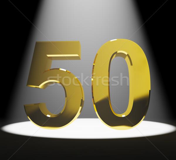 Oro cinquanta 3D numero primo piano Foto d'archivio © stuartmiles
