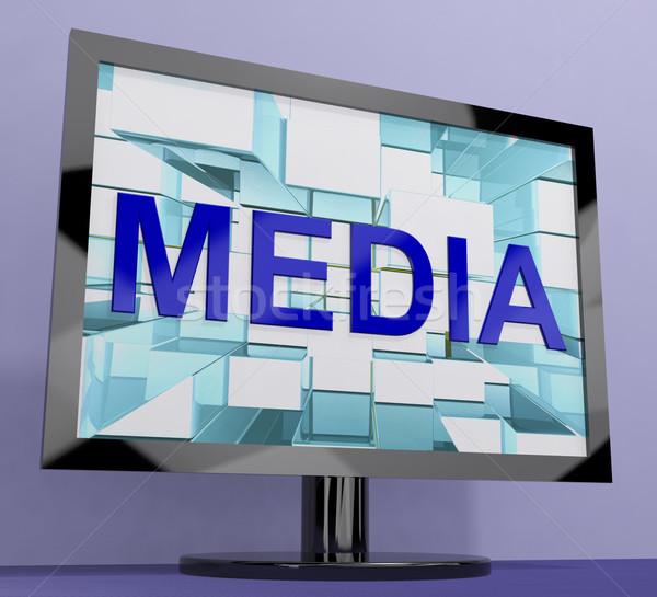 Media Word On Monitor Showing Internet OrTelevision Broadcasting Stock photo © stuartmiles