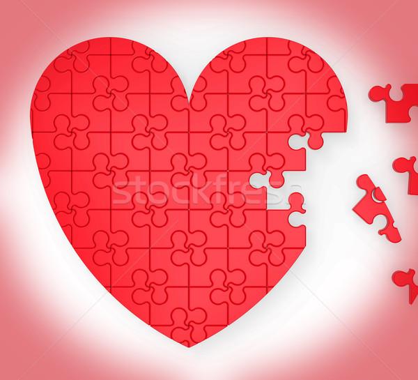 Befejezetlen szív puzzle házasság javaslat eljegyzés Stock fotó © stuartmiles