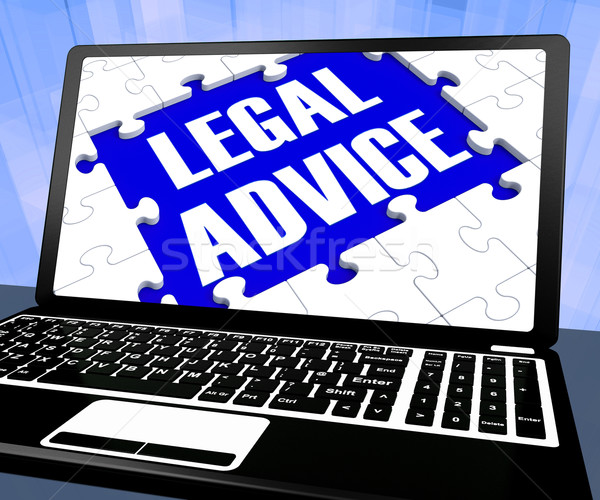 Stockfoto: Juridische · advies · laptop · tonen · hulp · raad