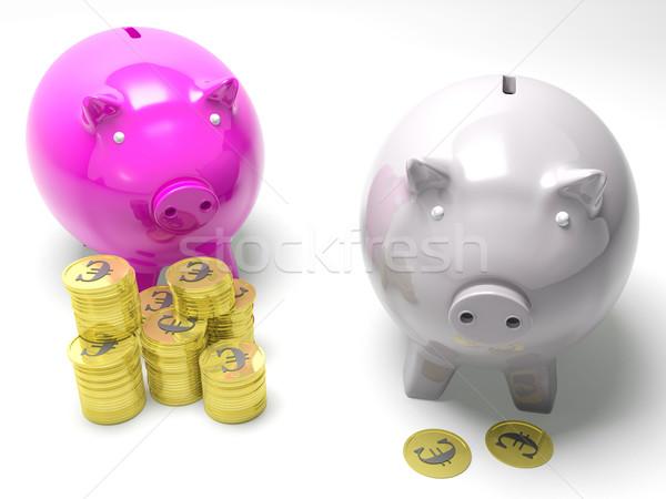 Two Piggybanks Savings Showing European Wealth Stock photo © stuartmiles