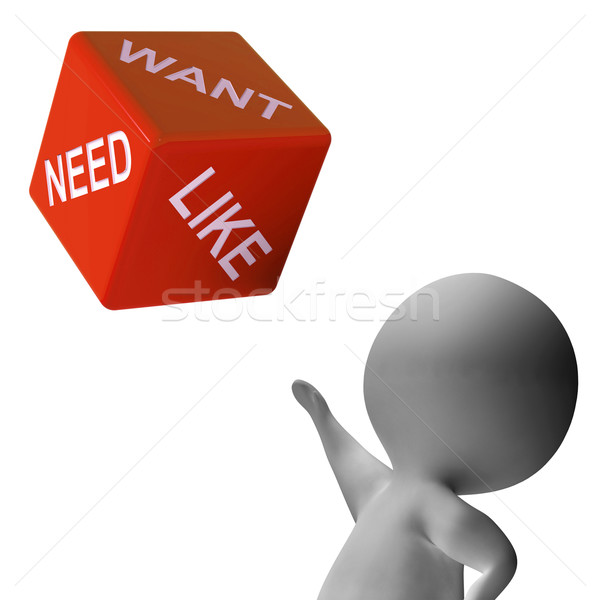 Need Want Like Dice Shows Desires Stock photo © stuartmiles