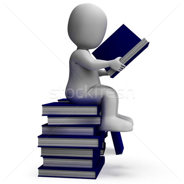 Student Reading Books Showing Wisdom Stock photo © stuartmiles