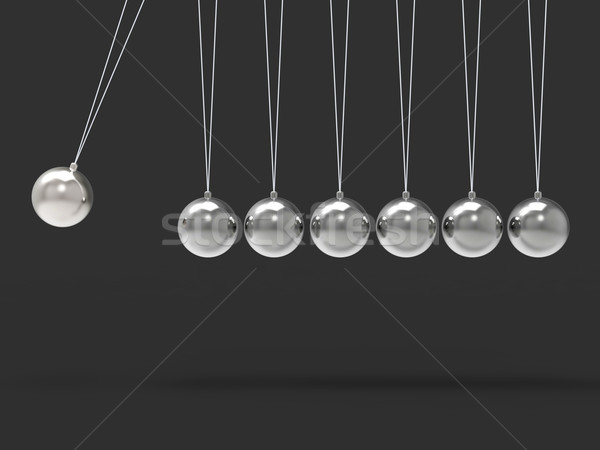 Seven Silver Newtons Cradle Shows Blank Spheres Copyspace For 7  Stock photo © stuartmiles