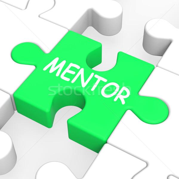 Mentor puzzel mentoring tonen Stockfoto © stuartmiles