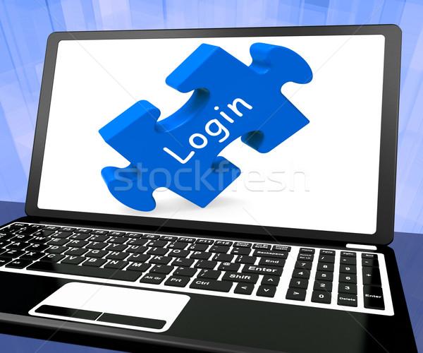 Inloggen laptop website gebruikersnaam wachtwoord tonen Stockfoto © stuartmiles