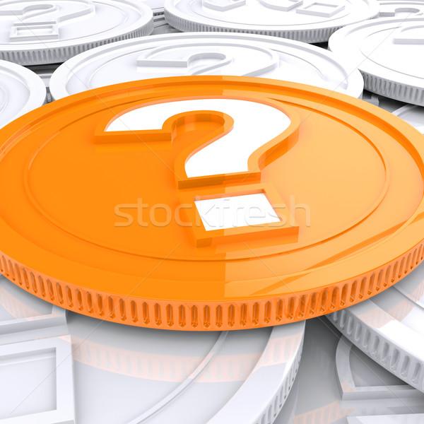 Kérdőjel érme spekuláció pénzügyek mutat pénz Stock fotó © stuartmiles