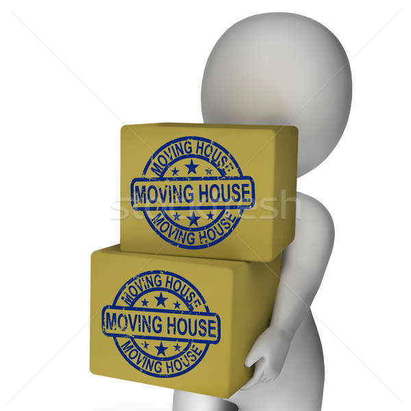 Moving House Boxes Show New Property And Relocation Stock photo © stuartmiles