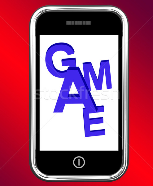 Game On Phone Shows Online Gaming Or Gambling Stock photo © stuartmiles