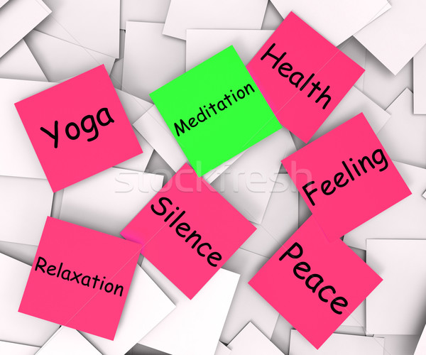 Meditation Post-It Note Shows Meditating And Inner Peace Stock photo © stuartmiles