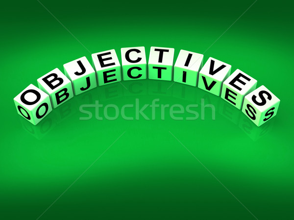 Stock photo: Objectives Blocks Show Motivation Aims and Goals